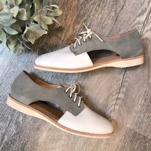 Rollie Sidecut Leather Derby Gray and White Size 8